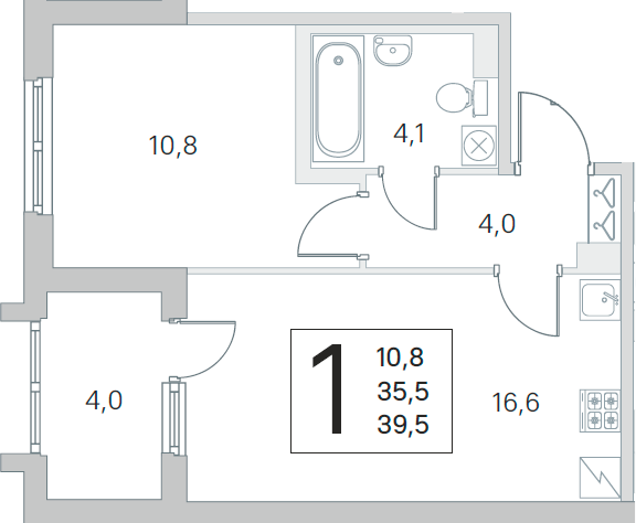 2Е-к.кв, 35.5 м²