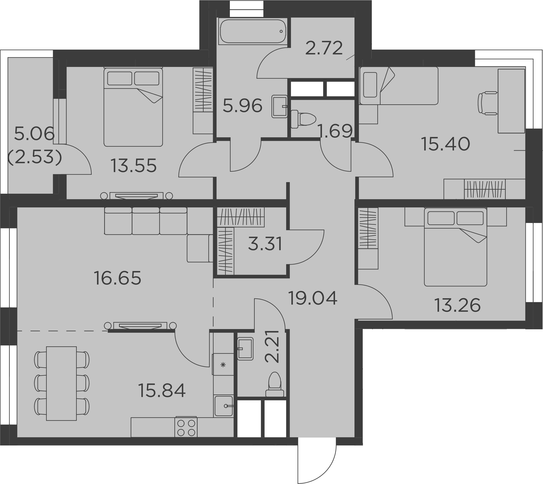 4Е-комнатная, 107.63 м²– 2