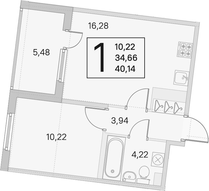 2Е-комнатная квартира, 34.66 м², 2 этаж – Планировка