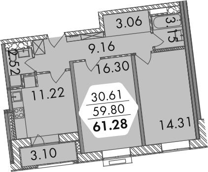 2-комнатная, 61.27 м²– 2