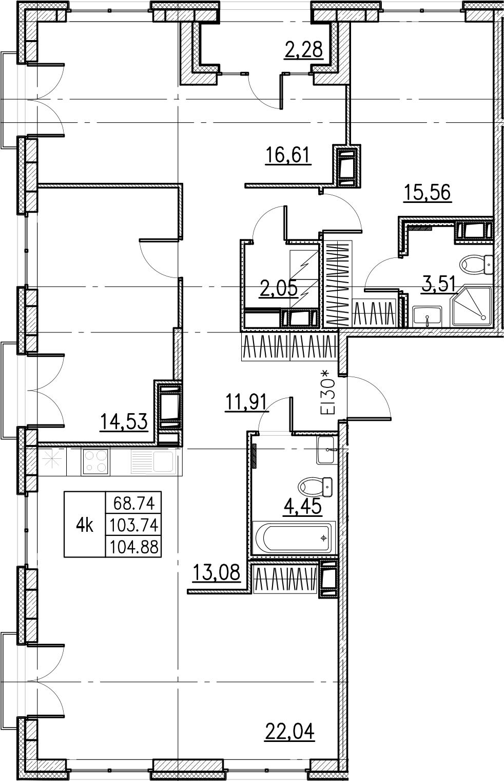 4-комнатная, 104.88 м²– 2