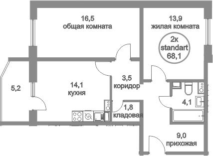 2-к.кв, 68.1 м²