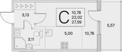Студия, 23.69 м², от 3 этажа