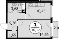 1-комнатная, 36.32 м²– 2