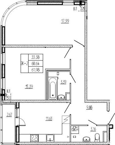 2-к.кв, 63.31 м²