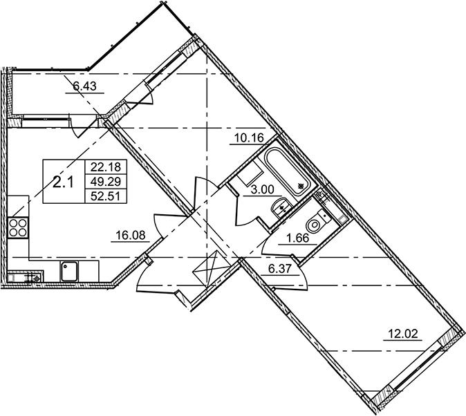 3Е-комнатная, 52.51 м²– 2