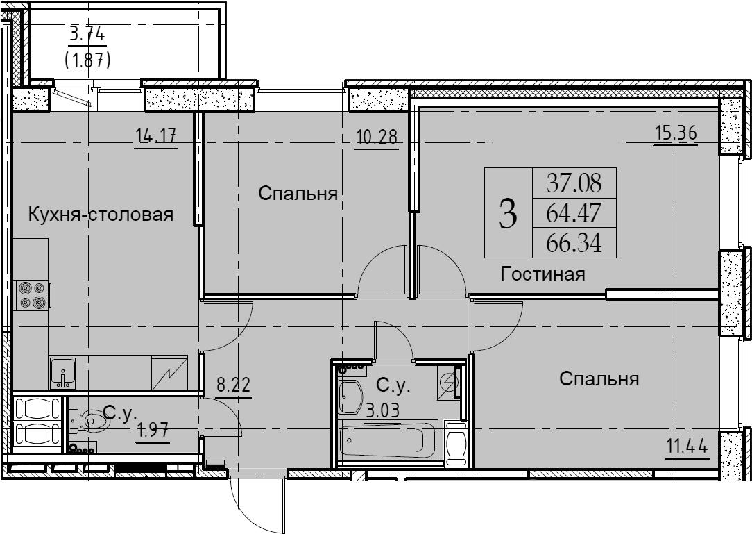 3-к.кв, 66.34 м², от 5 этажа