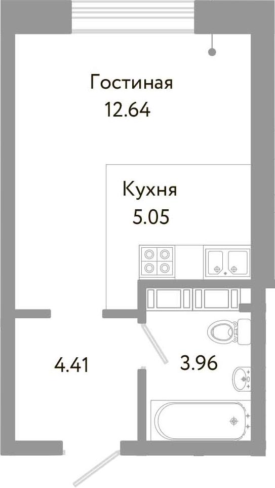 Студия, 26.06 м², 10 этаж
