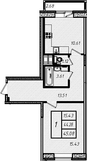 1-к.кв, 46.96 м²