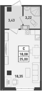 Студия, 25 м², 16 этаж – Планировка