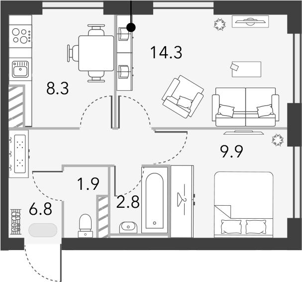 2-к.кв, 44 м²