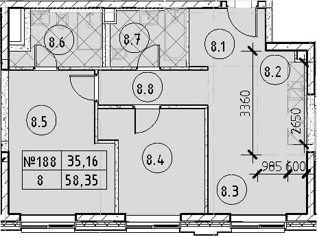 3Е-комнатная, 58.35 м²– 2