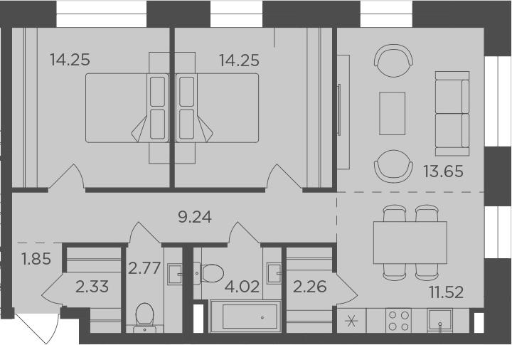 3Е-к.кв, 76.14 м², 8 этаж