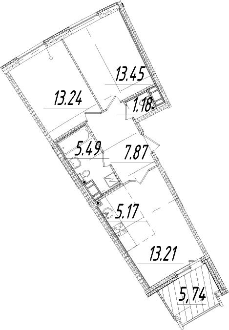 3Е-комнатная, 62.48 м²– 2