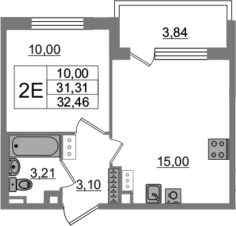 2Е-к.кв, 31.31 м²