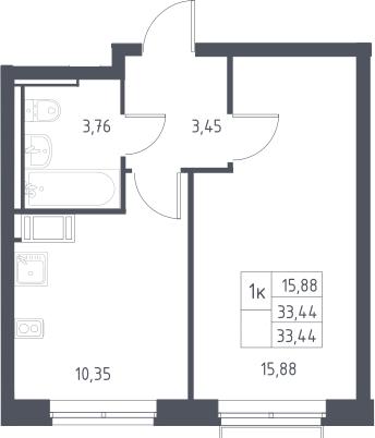 1-комнатная, 33.44 м²– 2