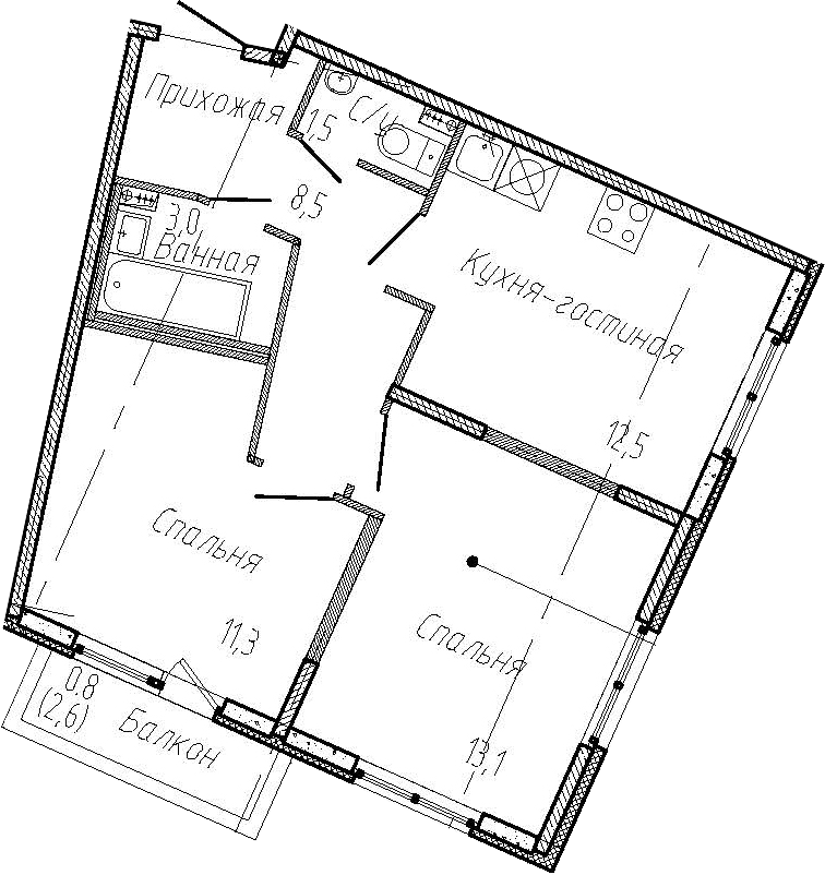 2-комнатная квартира, 49.9 м², 1 этаж – Планировка