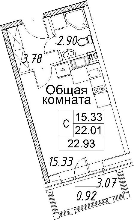Студия, 25.08 м²