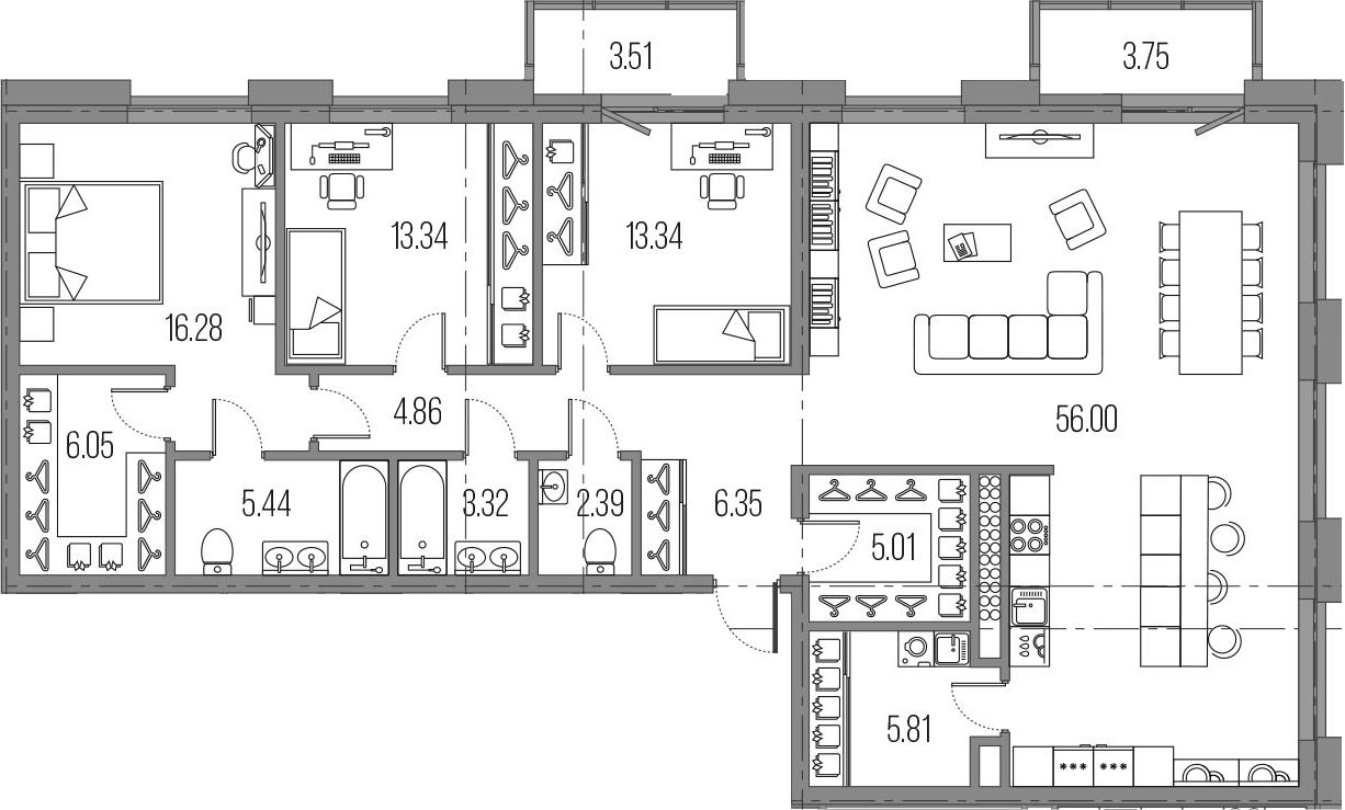 4-к.кв (евро), 145.45 м²