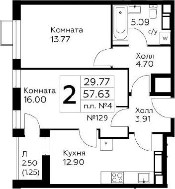 2-к.кв, 58.88 м²