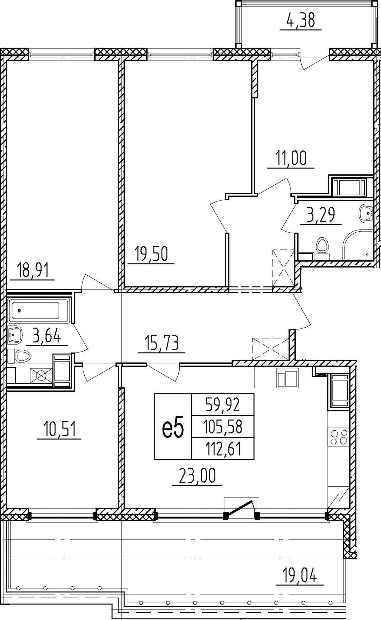 5-к.кв (евро), 129 м²