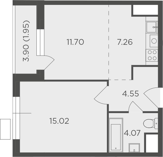 2Е-к.кв, 44.55 м², от 7 этажа
