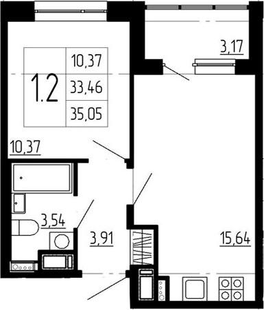 1-к.кв, 36.63 м²