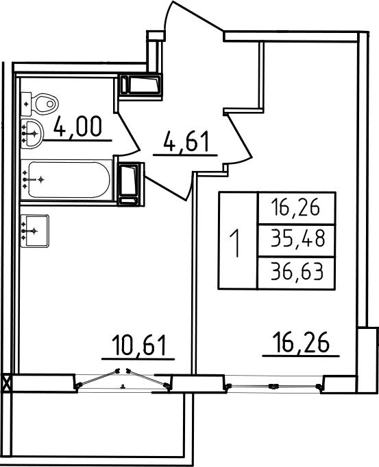 1-к.кв, 36.63 м², от 3 этажа