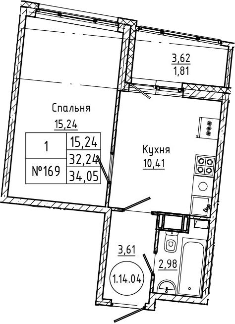 1-комнатная, 34.05 м²– 2