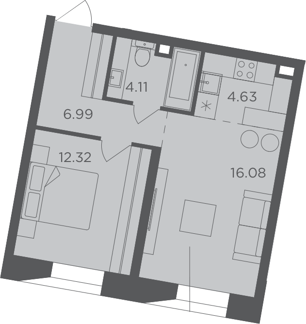2Е-к.кв, 44.13 м², 7 этаж