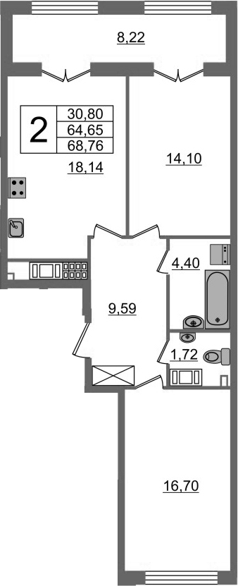 3-к.кв (евро), 72.87 м²