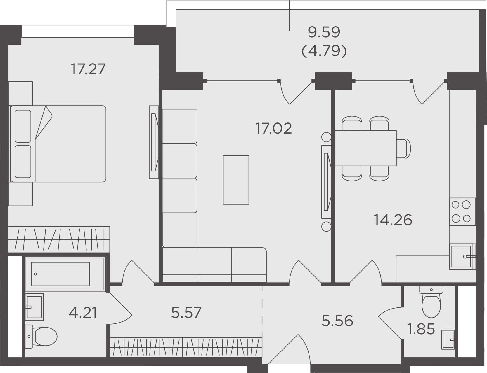 2-комнатная, 70.53 м²– 2