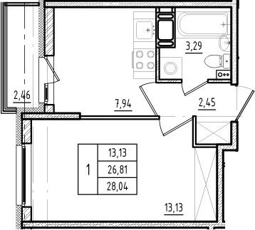 1-к.кв, 26.81 м², от 13 этажа