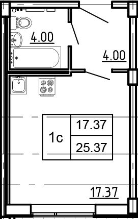 Студия, 23.8 м²