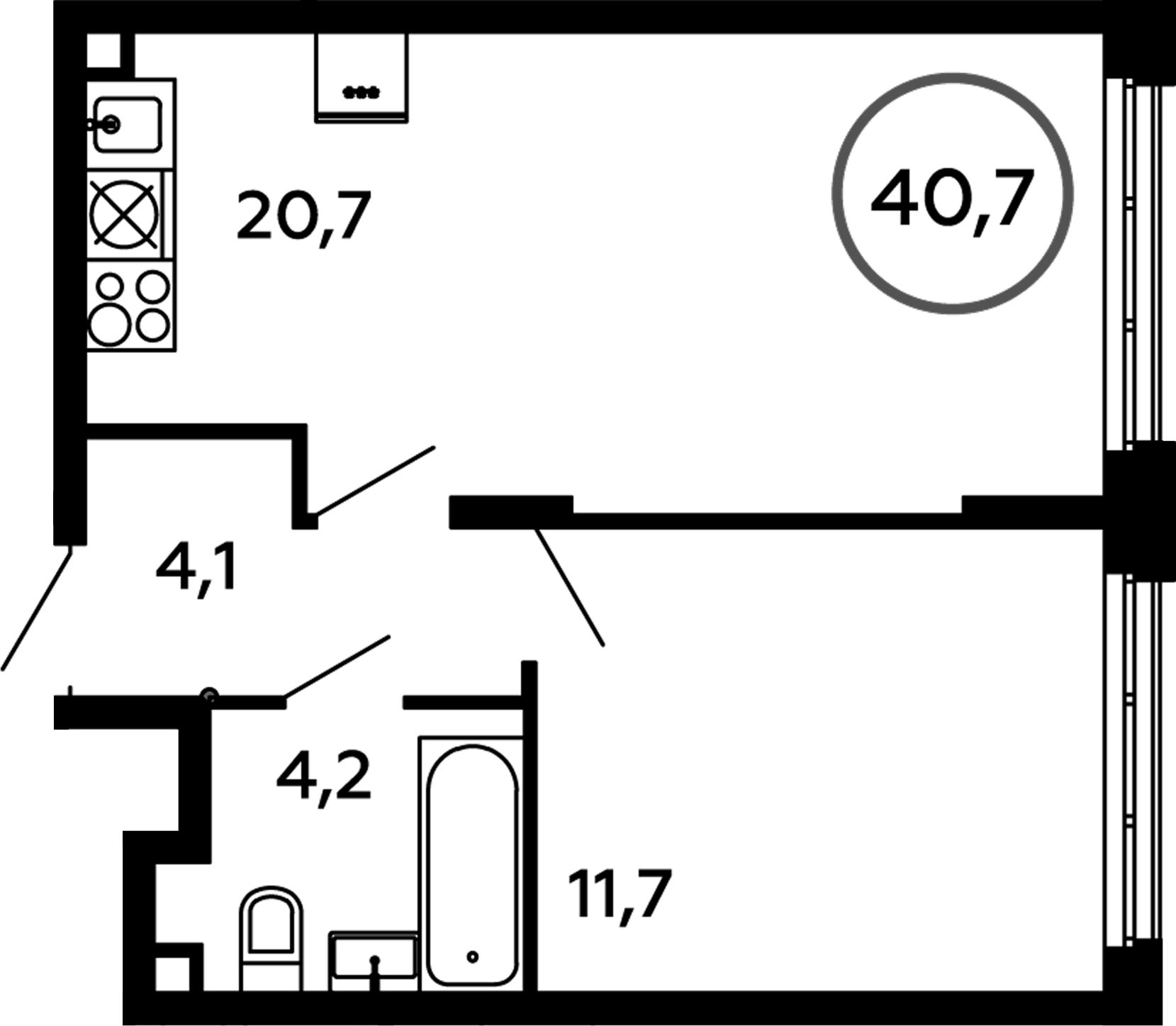 2Е-к.кв, 40.7 м²