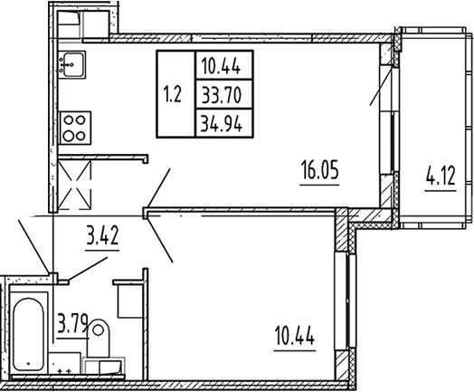 2Е-к.кв, 33.7 м², 3 этаж
