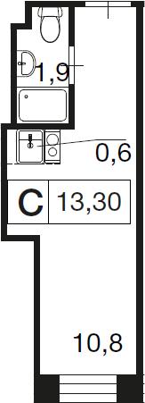 Студия, 13.3 м²– 2
