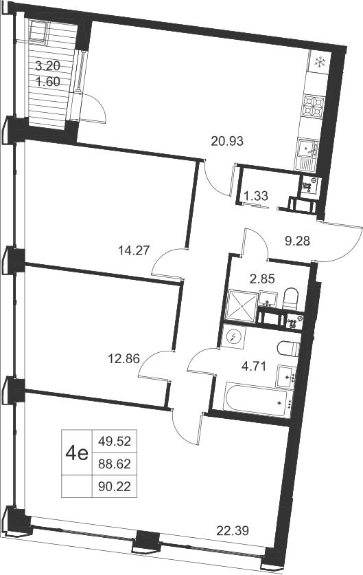 4-к.кв (евро), 91.82 м²