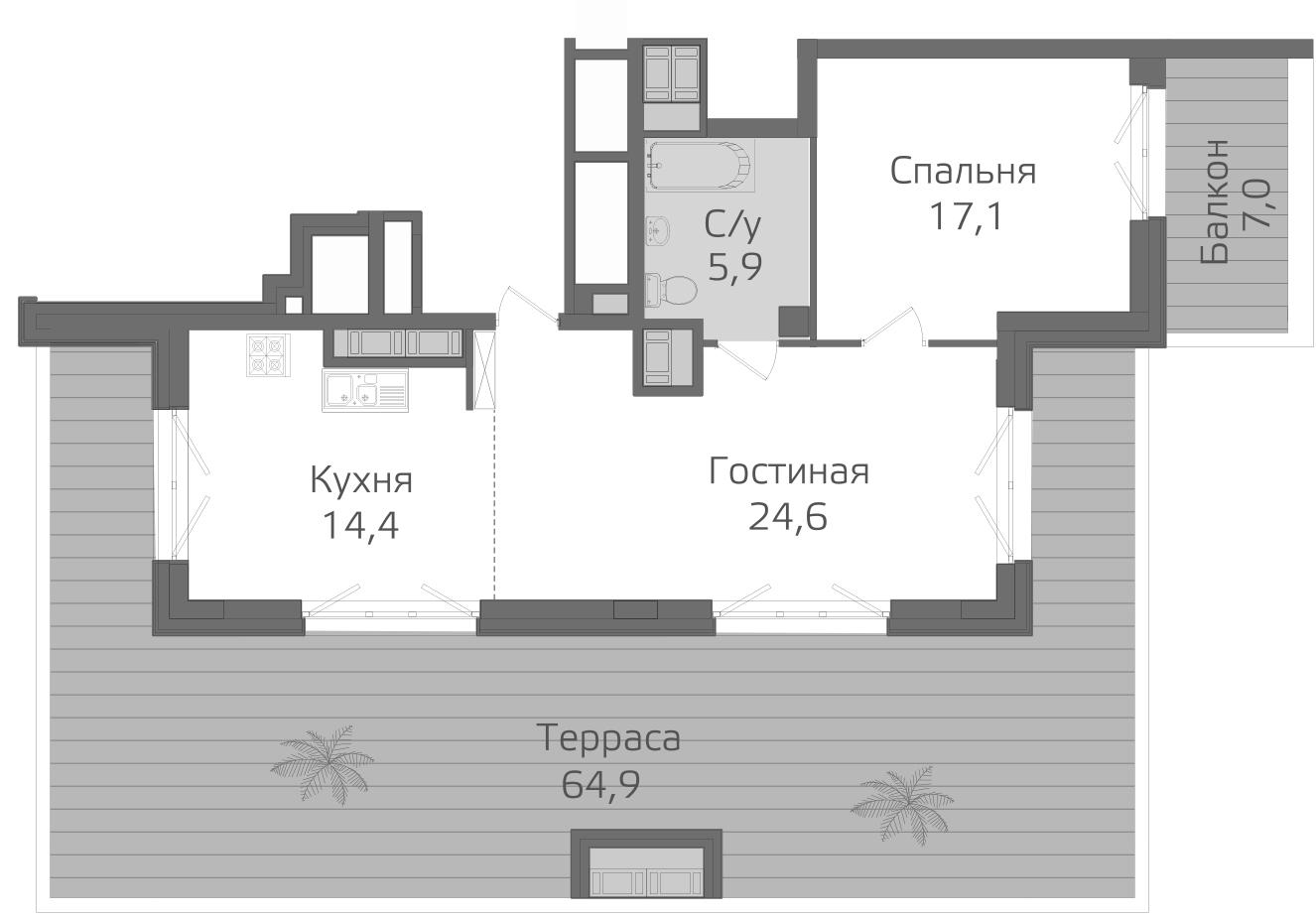 2-к.кв (евро), 134.2 м²