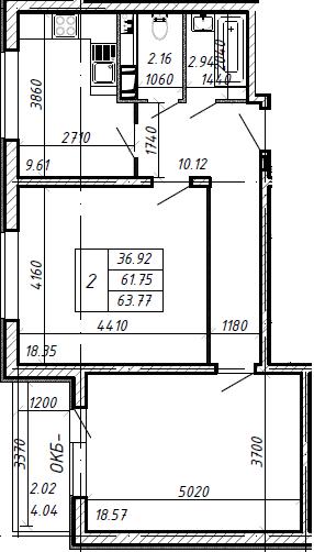 2-к.кв, 65.79 м²