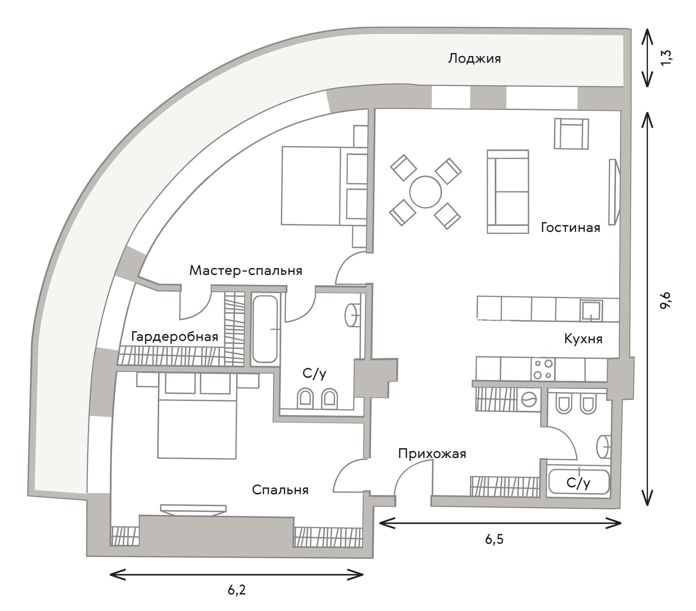3Е-комнатная, 113.1 м²– 2