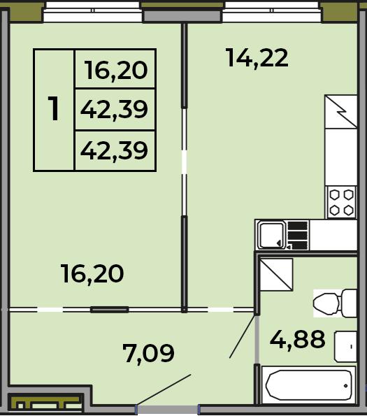 1-к.кв, 42.39 м²
