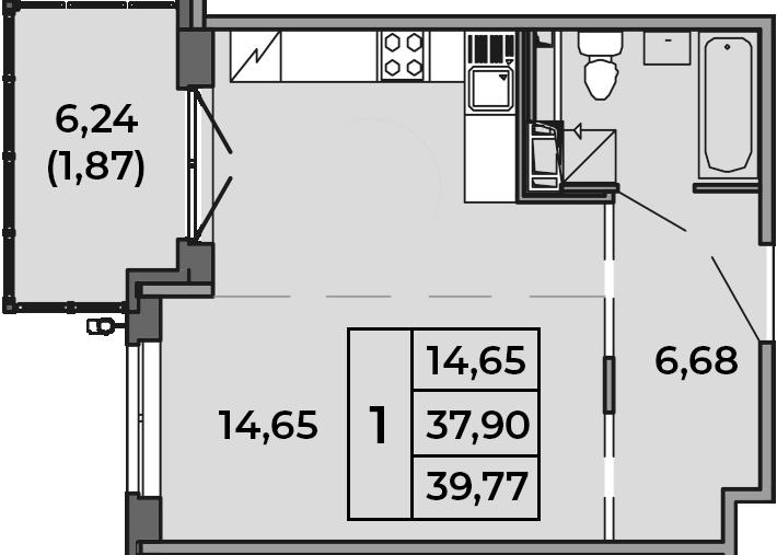 Студия, 37.9 м², от 2 этажа