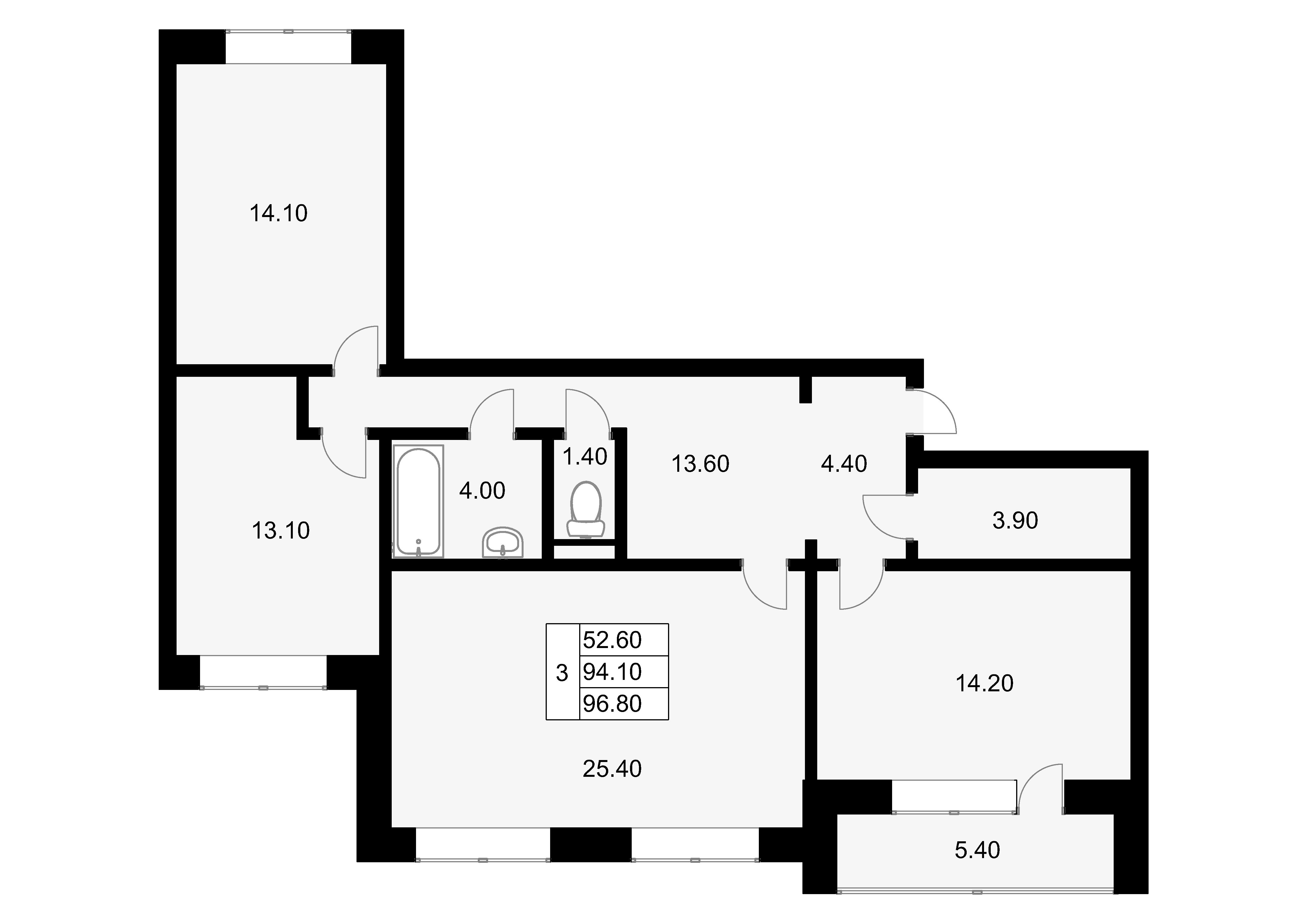 3-к.кв, 99.5 м²