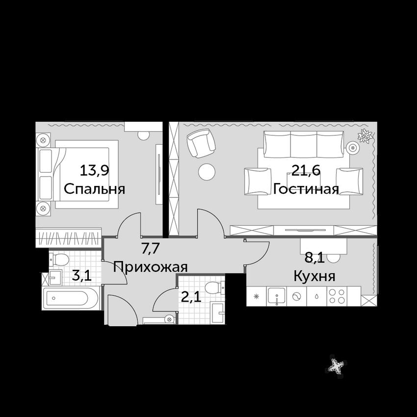 2-к.кв, 56.5 м², от 6 этажа