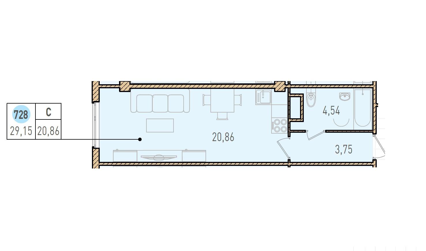 Студия, 29.15 м²