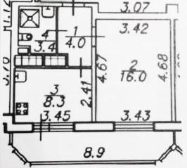 1-комнатная, 34.37 м²– 2