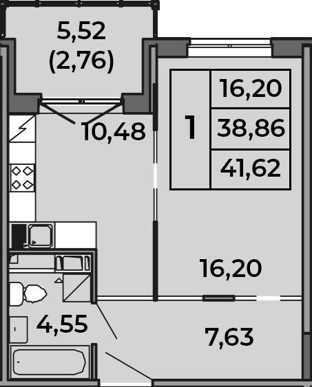 1-к.кв, 38.86 м², от 2 этажа