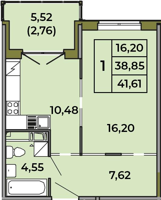 1-к.кв, 38.85 м², 3 этаж