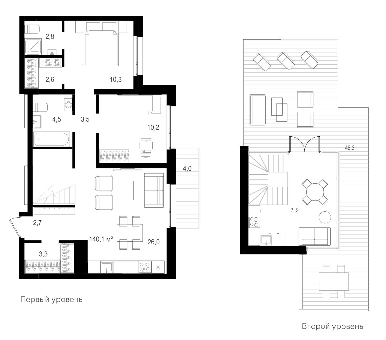 3Е-к.кв, 140.1 м²
